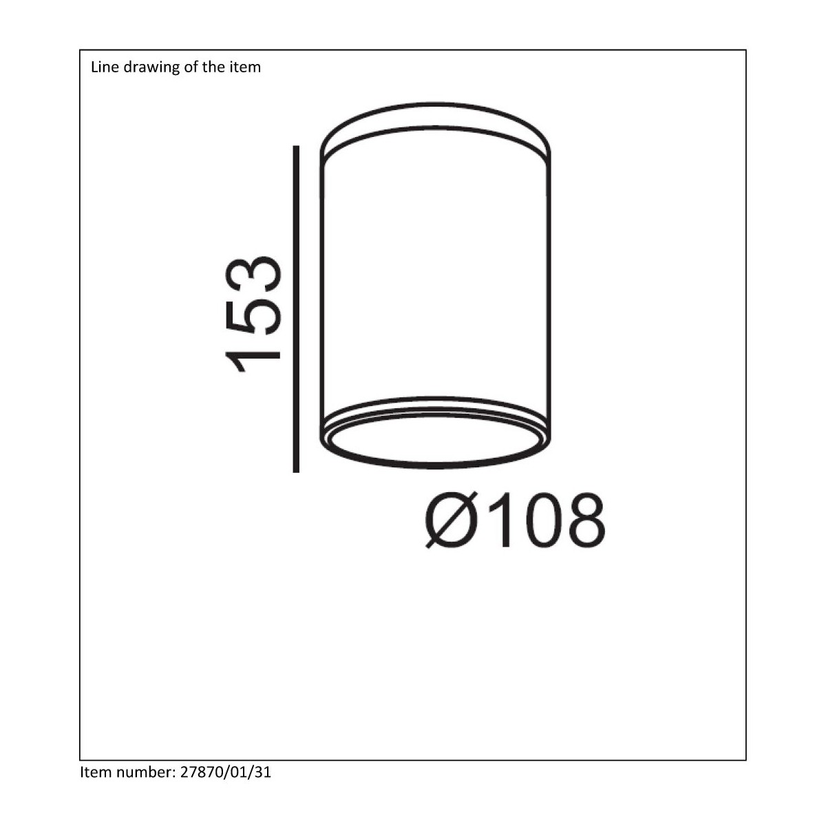 Lucide TUBIX IP54 H15 D10cm Biały 27870/01/31 Plafon