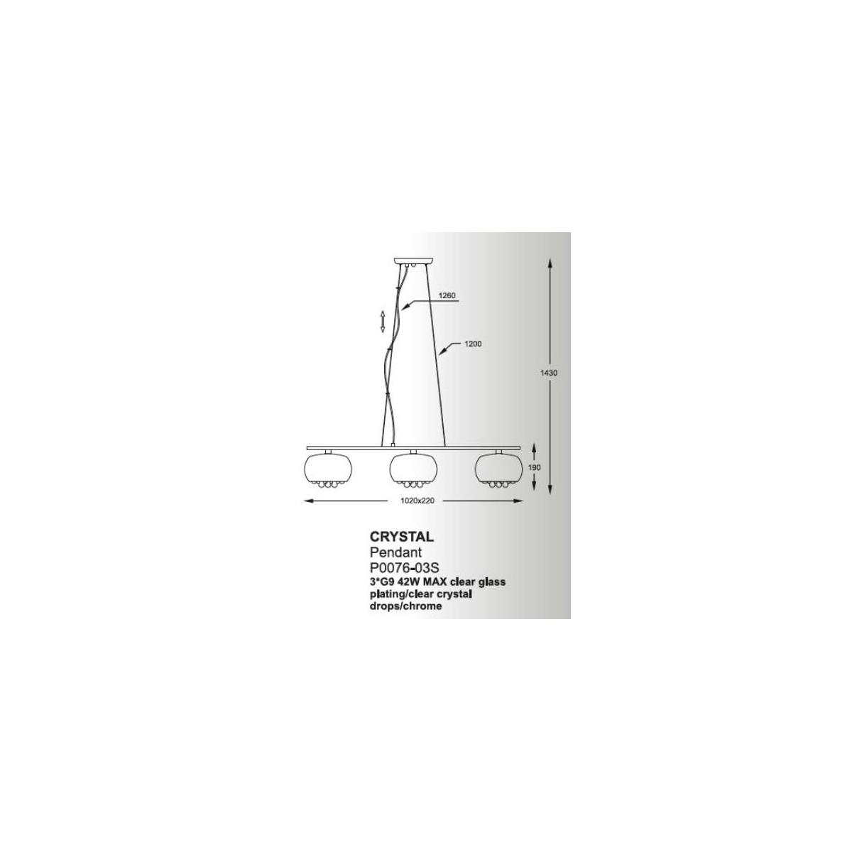 Zuma Line Crystal Potrójna P0076-03S-F4FZ Wisząca