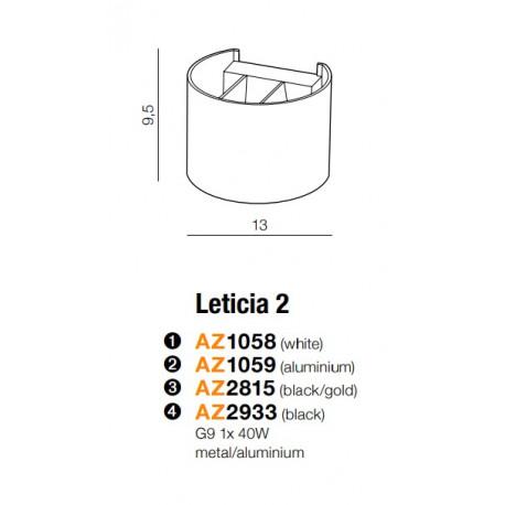 Azzardo LETICIA 2 ALU 1xG9 Ścienna Aluminium AZ1059