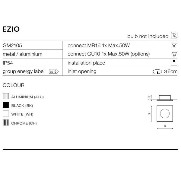 Azzardo EZIO 1 CHROME 1xGU10 Wpuszczana Chrom IP54 AZ1051