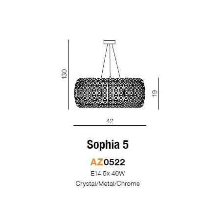 Azzardo SOPHIA 5 5xE14 Wisząca Przeźroczysty/Kryształ AZ0522